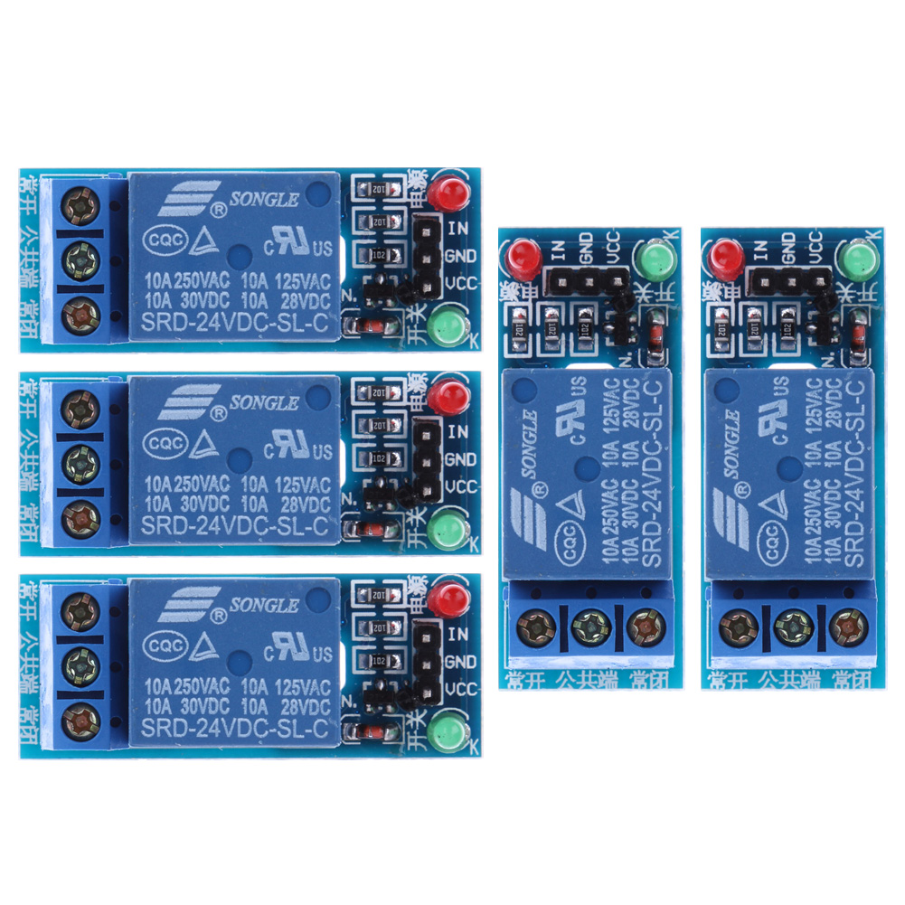 5Pcs/lot 24V 1-Channel Relay Module Optocouple Board Shield for PIC AVR DSP ARM Electronic Relay Module  12v 8 channel relay module board for pic avr mcu dsp arm electronic new original