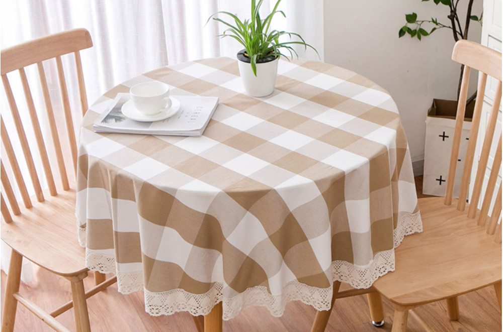 Round Tablecloth Thick Plaid Cotton Linen Kitchen Dinner Table Cloth Lace Pastoral Style Simple Coffee Table Nordic Decor Cloth in Tablecloths from Home Garden