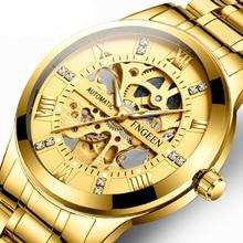 FNGEEN Men Watch Top Brand Luxury Automatic Mechanical Watch Men Full Steel Business Life Waterproof Hollow Sport Watches все цены