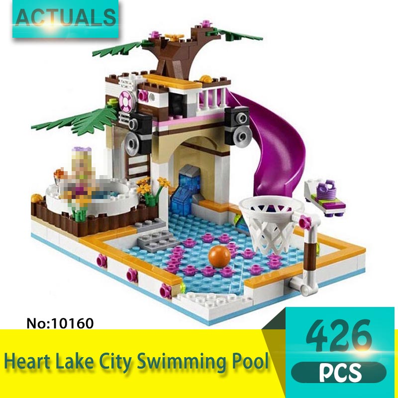bela 10160 426Pcs Friends series Heart Lake City Swimming Pool Model Building Blocks Bricks Toys For Children  Gift retractable round shaped dog cat pet nest bed coffee size s