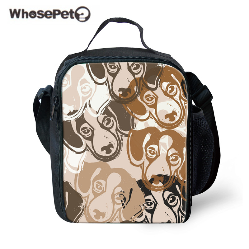 WHOSEPET Children Lunch Bag Basset Hound Printing Insulated Thermal Lunchbox Keep Food Fresh Girls Shoulder Meal Bag for Kids