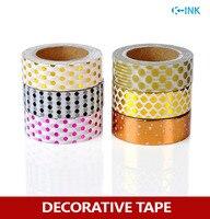 6 Rolls Set Polka Dot Foil Washi Paper Tape Set Dot Metal Colored Hot Stamping Washi