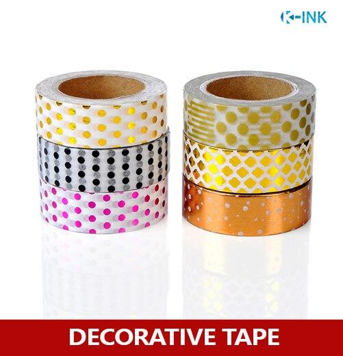 6 rolls / set polka dot Foil washi paper tape set , dot metal colored hot-stamping washi decorative tape set for scrapbooking