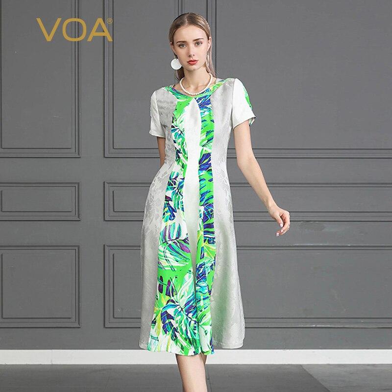 VOA Slim Long Luxury Silk Dress Women Short Sleeve Casual Ladies vestido Large Size Printed Beach Dresses Elegant Clothes A909