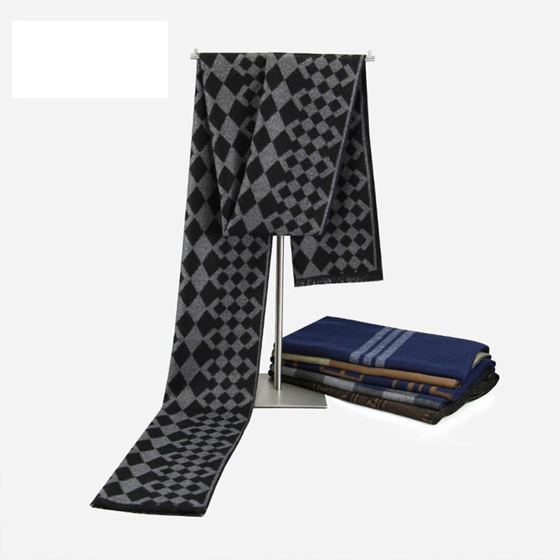 Men font b Tartan b font Scarf Winter Luxury Brand Cashmere Scarf Acne Studios Chic Pattern