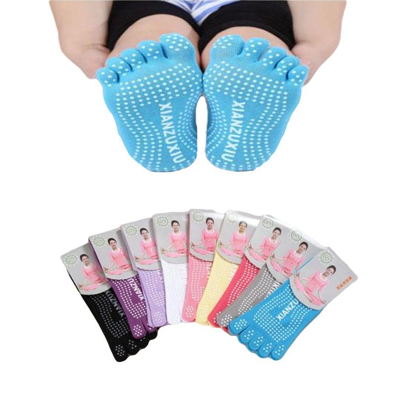 Colorful Sweet Calcetines Short Yoga Socks Women Ankle Socks Sweat Meias Feminina Non Slip Five Fingers Socks With Separate Toes