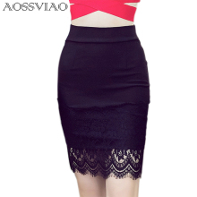 Office Women Sexy Pencil Skirt Black Elasticity Lace Patchwork Bodycon 2017 Womens Summer Slim Skirts Plus Size S-3XL
