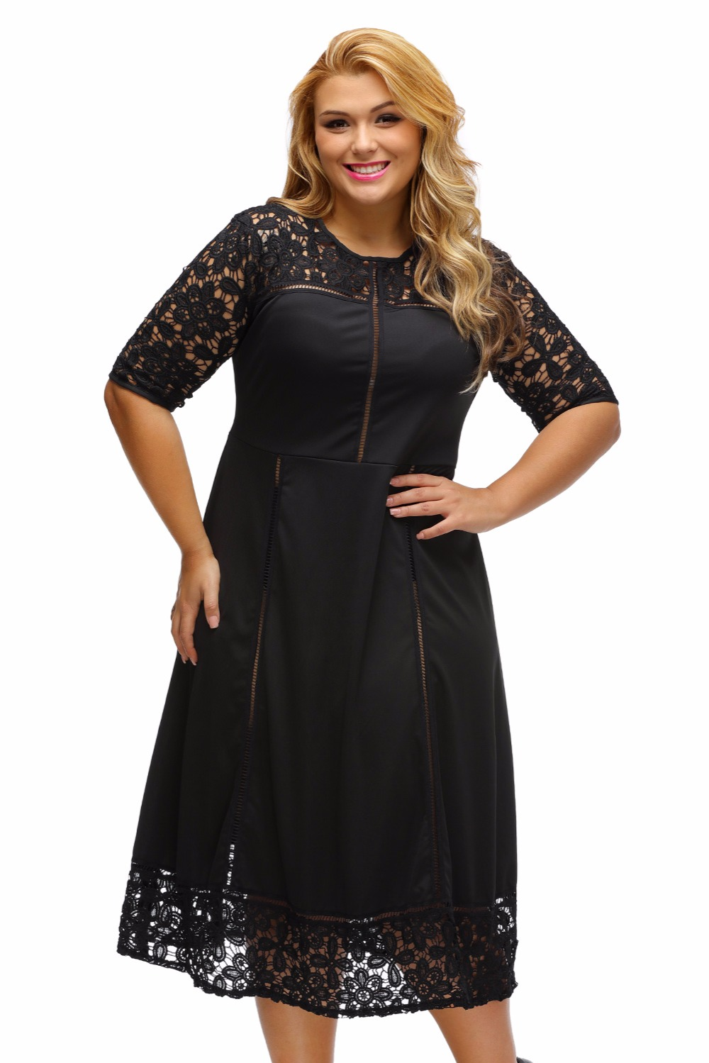 Zipper Back XL 3XL Plus Size Dress Big Women Black Floral Lace Splice Curvy  Dress Half Sleeve Little Black autumn winter Dress-in Dresses from Women s  ... 250b3e1552c2