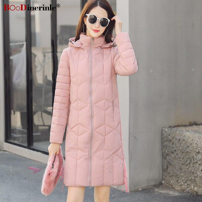 2018 New Autumn Long Jacket for Women Fashion Slim Hooded Cotton Coat   Parka   With Tassel Women's Thicken Warm Outwear MY340