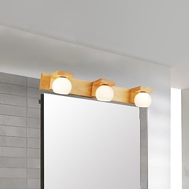 Oak Modern Led Bathroom Mirror Light With 3 Lights LED Wall Lamp bedroom wood Wall Sconces Free Shipping cream white iron modern led wall lamp lights with 1 light wall sconces free shipping