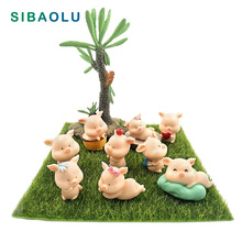 Mini Cute Pig figurine Resin Craft Animal Model Moss micro landscape home decor miniature fairy garden decoration accessories