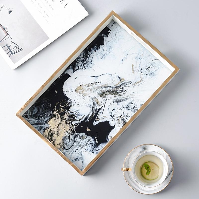 Nordic Vintage In Legno scatola di Immagazzinaggio Di Vetro Vassoio Piatto Da Tavola Creativo di Colore Oro Nebbia Nube Agata Texture Vassoio Del Tè Complementi Arredo Casa Artigianato