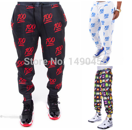 2016 New Fashion Men's 100 Emoji Joggers Pants Mens Gymnasium Pants Sweatpants Printed Smile Cartoon gymnasium pants