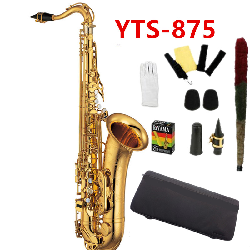 2018 New Custom Tenor saxophone YTS-875 High Quality B flat tenor sax playing professionally paragraph Music Saxophone Case free shipping new high quality tenor saxophone france r54 b flat black gold nickel professional musical instruments