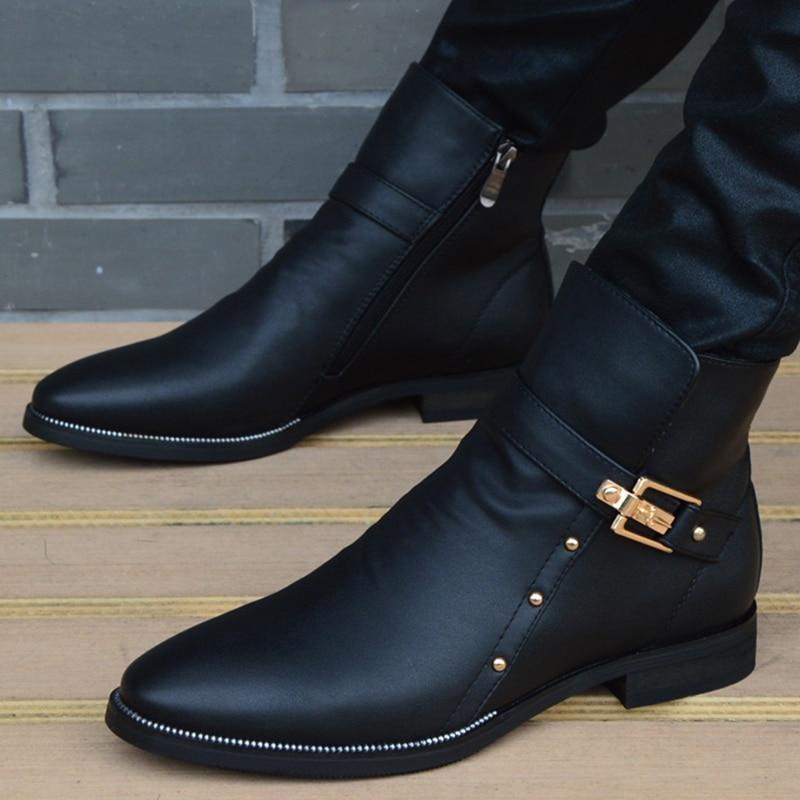 New Fashion Men Boots Genuine Leather Men's British Autumn Winter Warm Plush Ankle Boots Man Casual shoes Zapatos man hombre