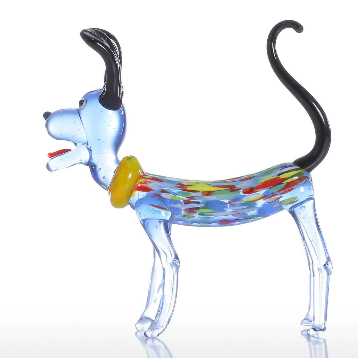 Glass animal ornaments - Tooarts Long Ear Dog Gift Glass Ornament Animal Figurine Handblown Home Decor Multicolor For Office Decoration