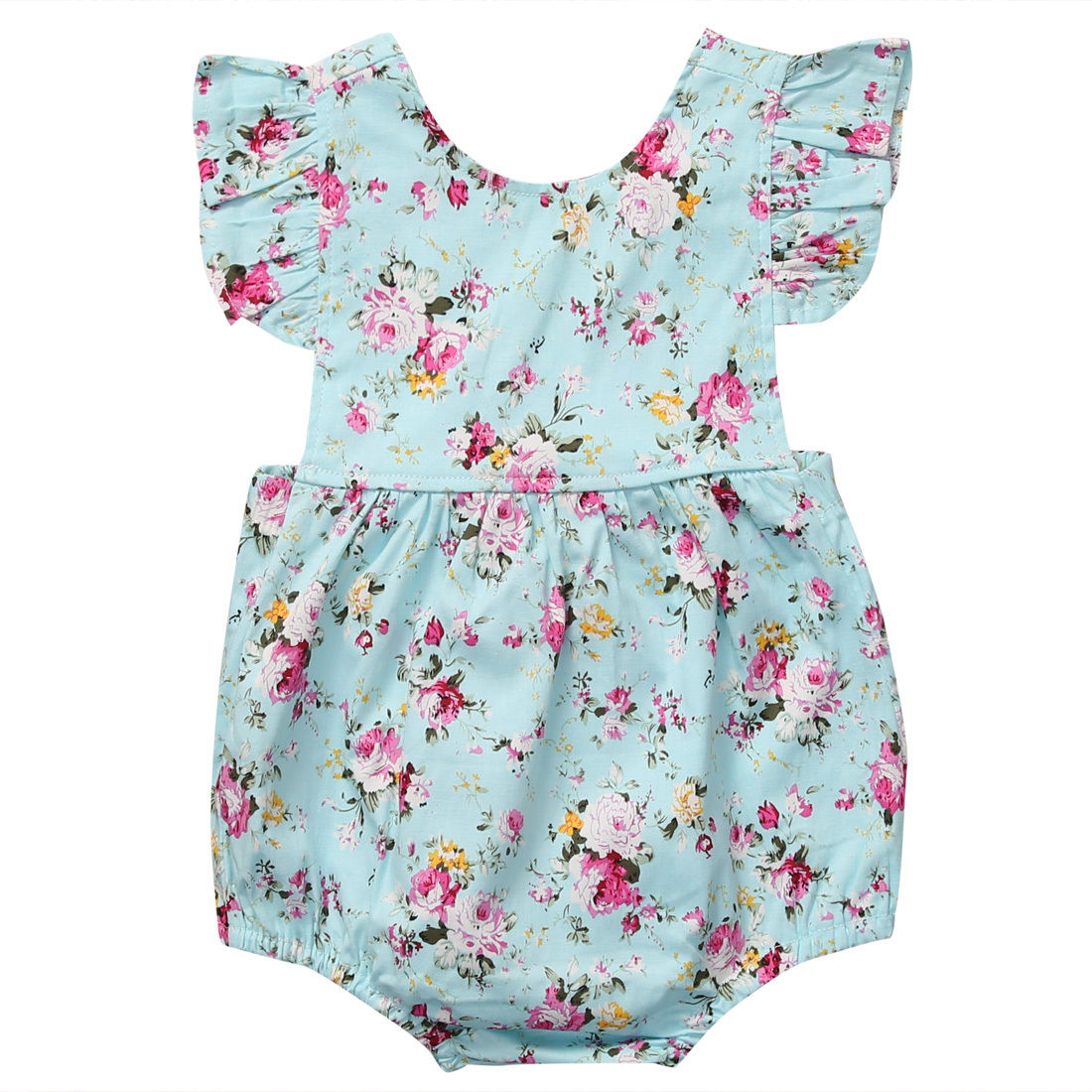 2017 Floral Newborn Baby Girl Romper Ruffles Sleeve Infant Bebes Princess Girls Jumpsuit Outfits Sunsuit Children Clothes 2017 floral baby romper newborn baby girl clothes ruffles sleeve bodysuit headband 2pcs outfit bebek giyim sunsuit 0 24m