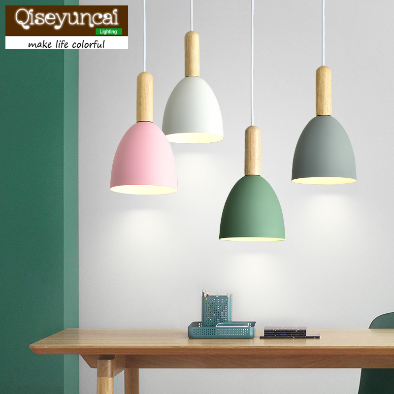 Qiseyuncai 2018 Nordic single-head restaurant chandelier modern minimalist color macarons original wood art bar study room lampsQiseyuncai 2018 Nordic single-head restaurant chandelier modern minimalist color macarons original wood art bar study room lamps