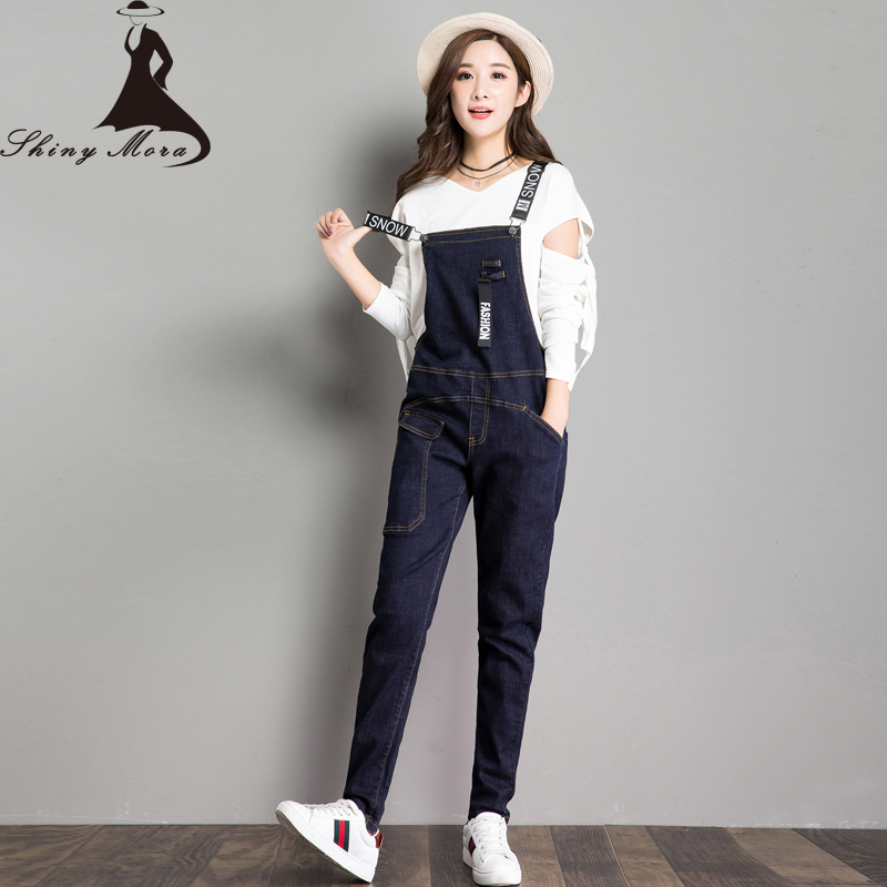 SHINYMORA 2017 New Overalls Jeans for Women Letter Print Denim Casual Harem Jeans Pants Trousers Female Jumpsuit with Pocket 2014 new fashion reminisced men vintage trousers casual jeans wash capris pants loose plus size overalls zipper denim jumpsuit