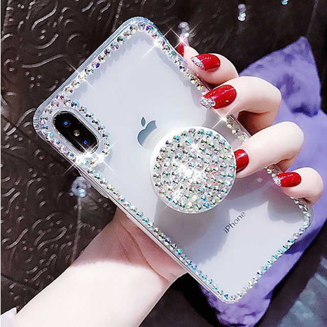 iPhone clear MAX Thin Slim Transparent Diamond Stander Holder Cases For iPhone