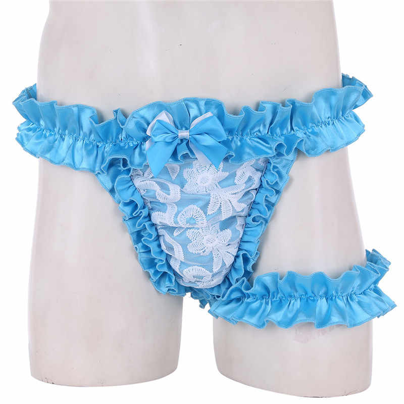 d38e6d3dc06a ... TiaoBug Sexy Men Lace Frilly Satin Ruffled High Cut Sissy Knickers Gay G -string Underwear ...