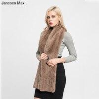 Jancoco Max 2017 Lavorato A Maglia Spessa New Real Rex Rabbit Fur sciarpa Femminile Inverno Caldo Lavorato A Maglia Lunga Marmitta Scialli di Modo Delle Donne S7131