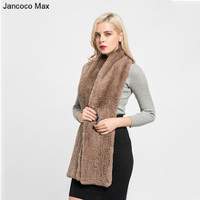 Jancoco Max 2017 Thick Knitted New Real Rex Rabbit Fur Scarf Female Winter Warm Long Muffler Fashion Shawls Women S7131