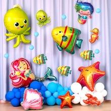 Sea world cute fish octopus foil balloons birthday party decoration oc