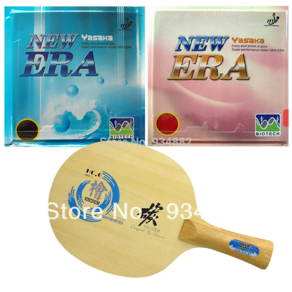 Pro Table Tennis Combo Paddle Racket Sanwei HC.6 + Yasaka NO ITTF ERA 40mm BIOTECH H39-41+ H42-44 Shakehand Long Handle FL pro combo table tennis racket hrt black crystal with yasaka era 40mm no ittf and ktl pro xp red dragon long shakehand fl