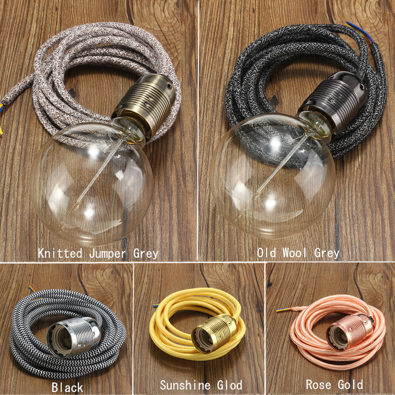 E27 2M 3 Core Smuxi Lamp Bases Wire Vintage Retro Edison Light Bulb Holder Fabric Flexible Cable Pendant Lampholder Socket ajay свитер