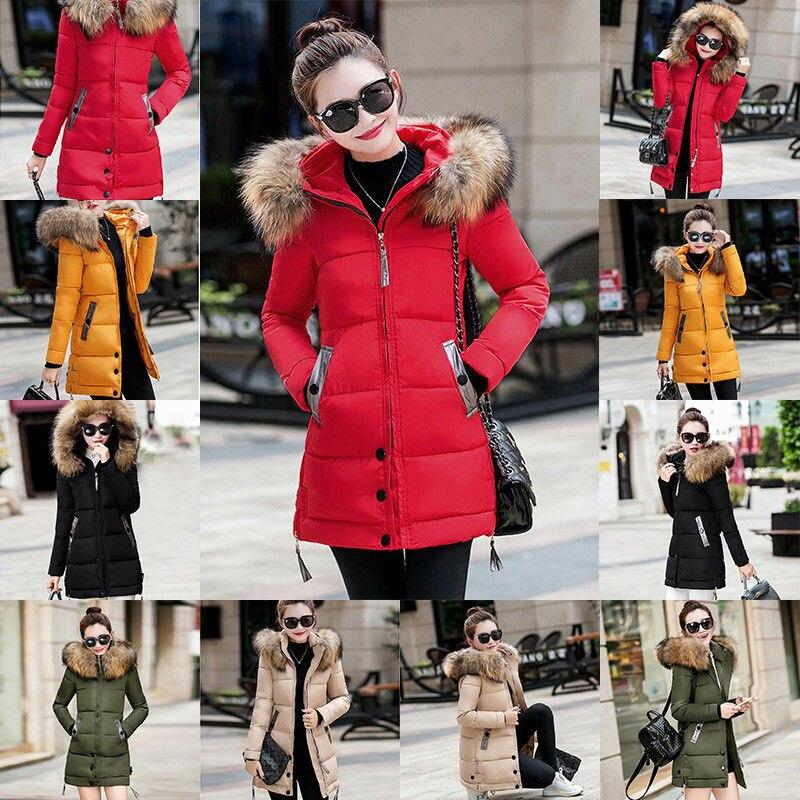 Long Sleeve Winter Warm Jacket Women Slim Fashion Hooded Coat