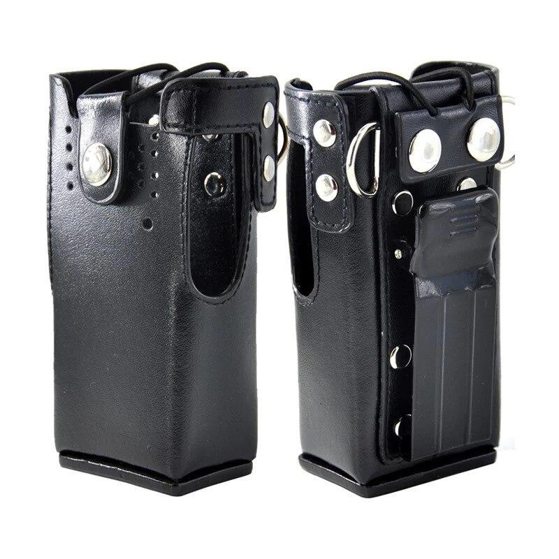 Honghuismart Leather Case Shoulder Holder Bag For Motorola Gp328,gp340,gp380,gp3188,ep450,ht750 Etc Walkie Talkie Black Color