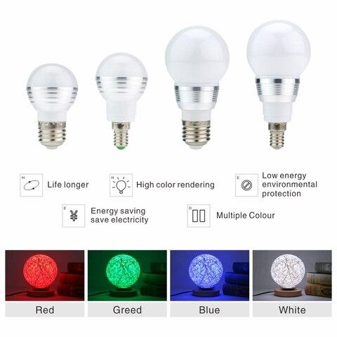 110V 220V 85-265V E27 E14  LED RGB lamp Bulb 3W 5W LED RGB Spot light Novelty Holiday RGB lights+IR Remote Control 16 colors Karachi