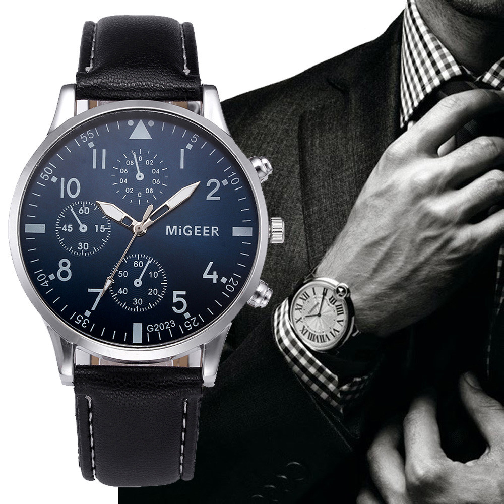 Men's Watch Luxury Leather Business Wrist Watches Quartz Analog Fashion Casual Hour Minute Numbers Round Minimalist F331