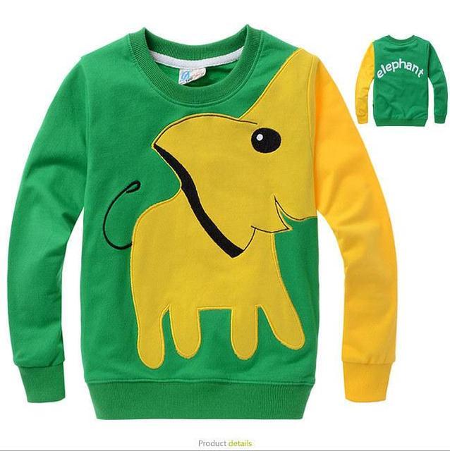 2016 мальчиков девочек одежда весна Осень футболка мультфильм слон с длинными рукавами детская одежда свитер пуловеры