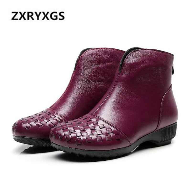 цены New 2018 Autumn Retro Handmade Cowhide Leather shoes Women Boots Flat Large Size Soft Comfort Warm Winter Snow Boots Ankle Boots
