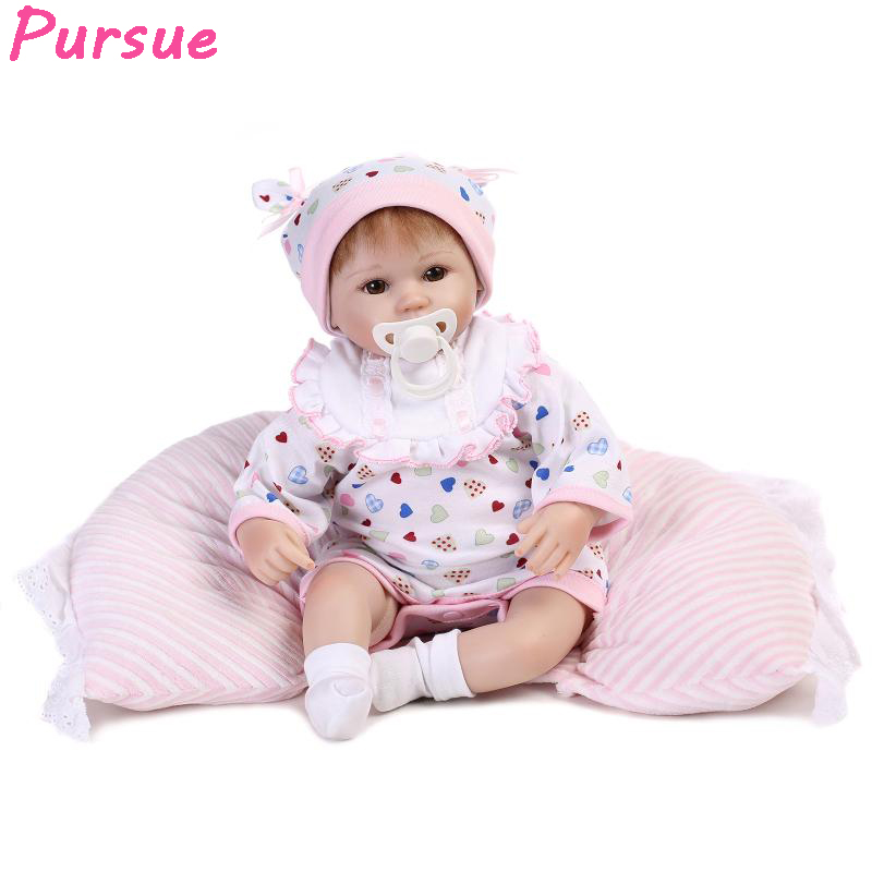 Pursue 17 inch Cute Reborn Babies Lifelike Silicone Baby Dolls Toy for Girl mini boneca bebe reborn de silicone menina realista