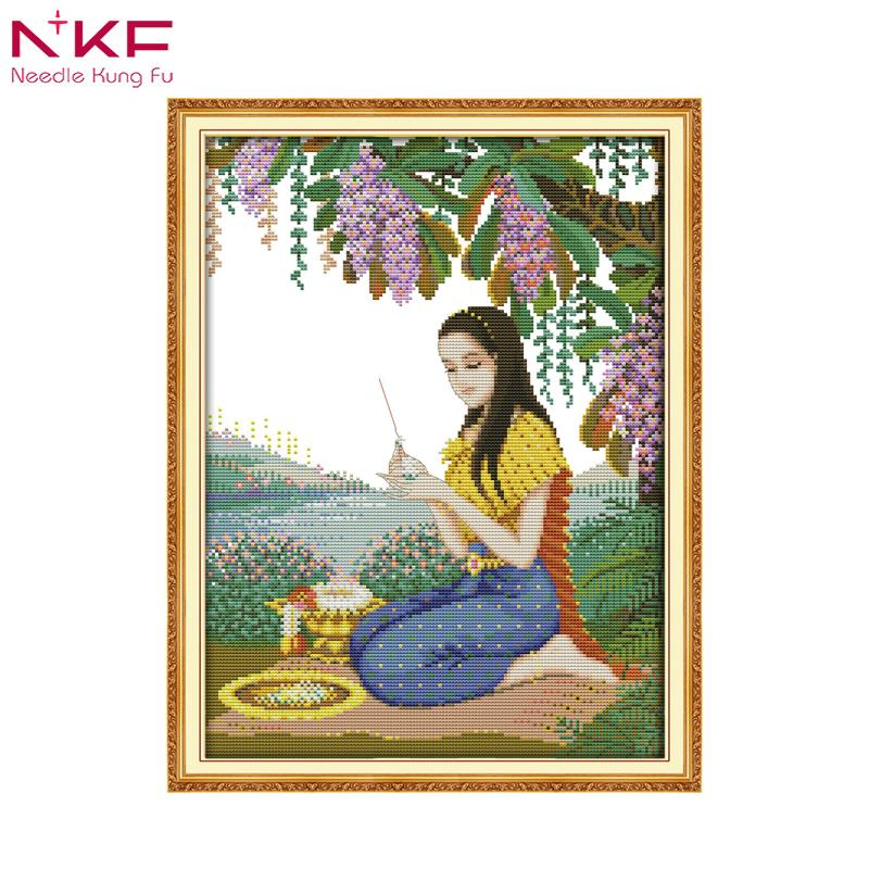 NKF Cross Stitch patten Play Flower Girl DMC 11ct 14ct counted and printed embroidery needlework kit for Home Decoration