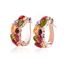 New Elegant Jewelry Colorful Charm Austrian Crystal Hoop Earrings Geometric Round Shining Rhinestone Big Earring femme bijoux(China)