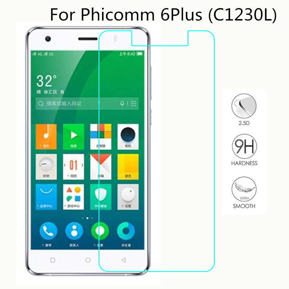 Smartphone Tempered Glass For Phicomm 6Plus (C1230L) 9H Explosion-proof Protective Film Screen Protector cover phone