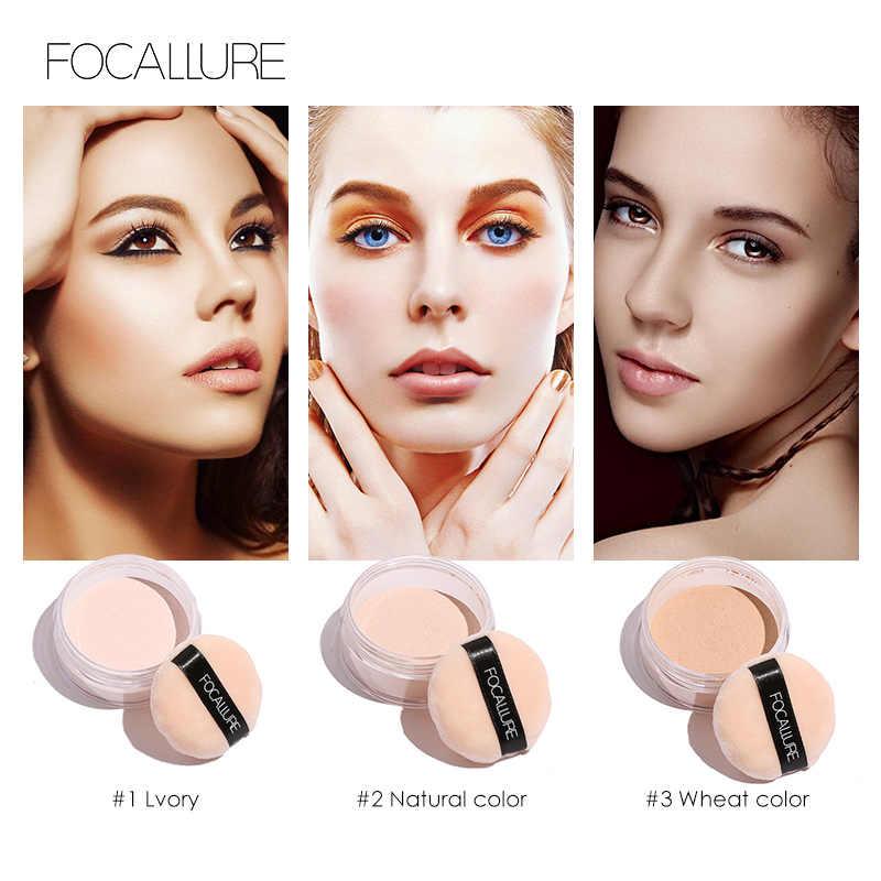 Focallure Tahan Lama Pengaturan Bubuk Tahan Air Matte Loose Powder dengan Concealer Cahaya Bubuk Mineral Makeup