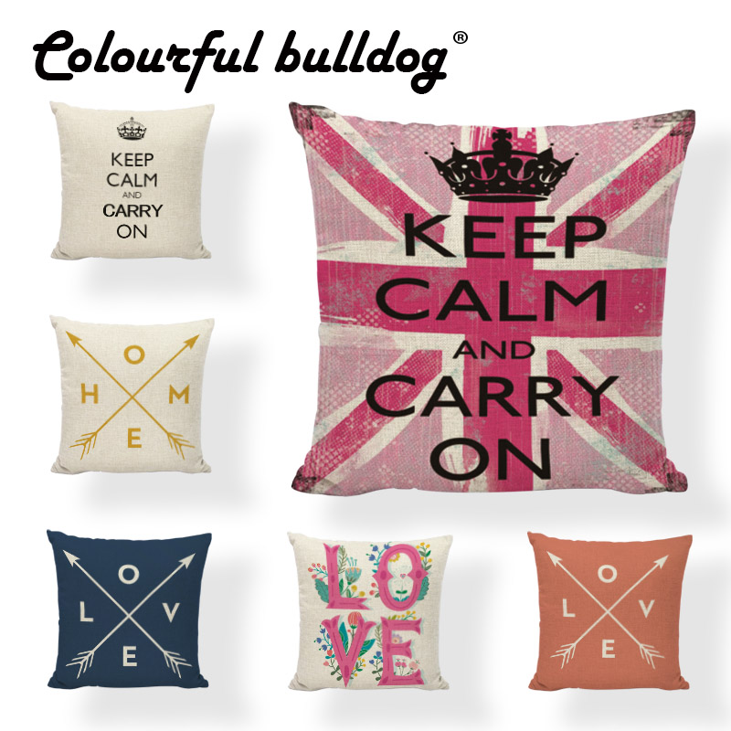 Elegant Keep Calm Series Cushion Cover Cartoon 43*43cm Love London Meditation Pillowcase Lounger Study Reading Decor Living Room