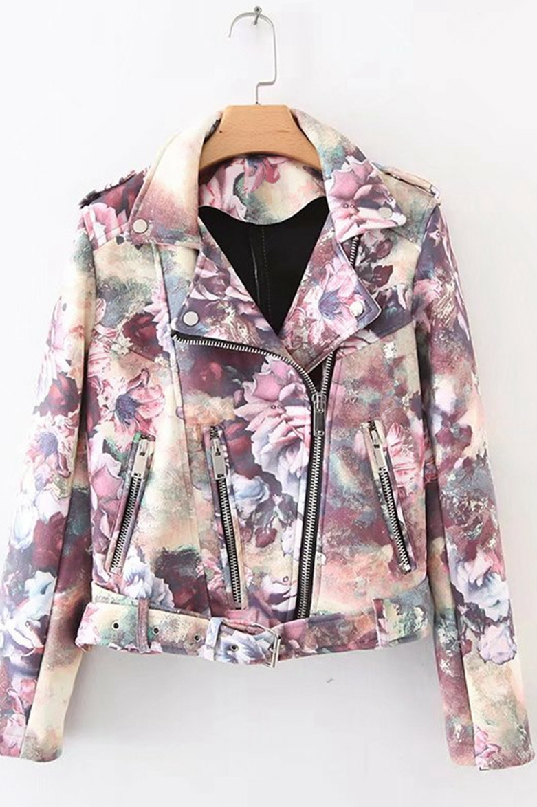 Spring Autumn Winter Women Fashion Flower Color Printing Zipper Pu Leather Jacket CKP-032