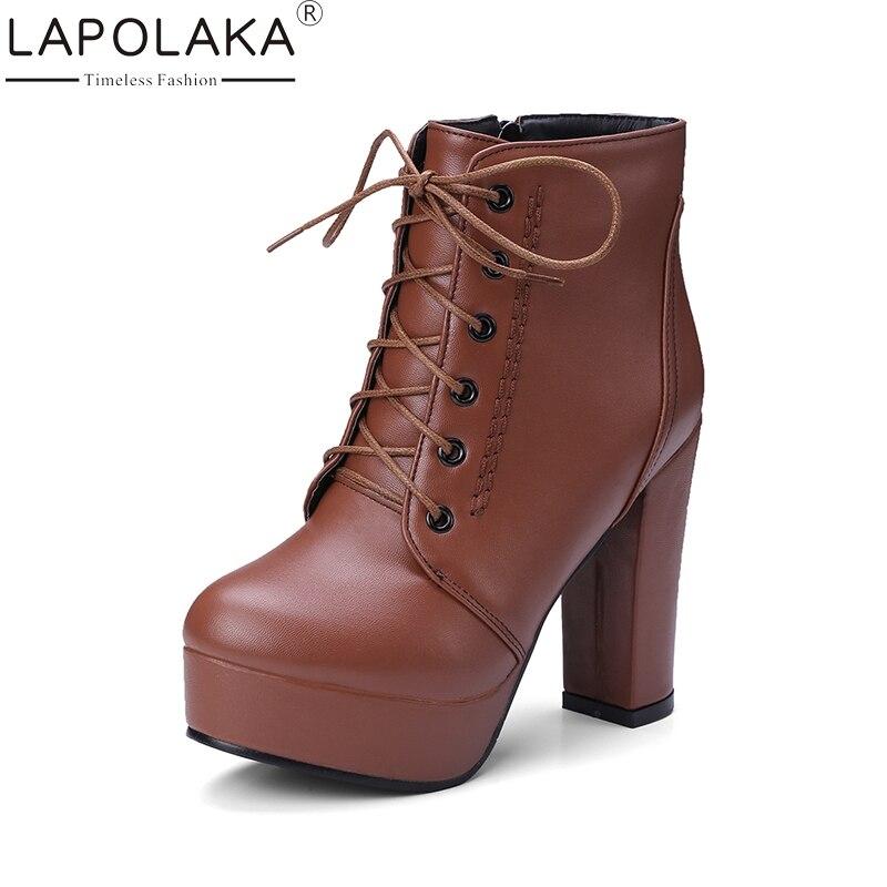 где купить LAPOLAKA 2017 Plus Size 34-43 Add Fur Winter Boots Women Shoes Woman Platform High Heels Shoelace Zip Up Ankle Boots Footwear по лучшей цене