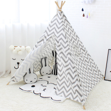 Canvas Tent for Baby Tipi Stripe Wigwam Kids Teepee House Children Toys Travel Foldable Child Play Room Decor 4 Poles