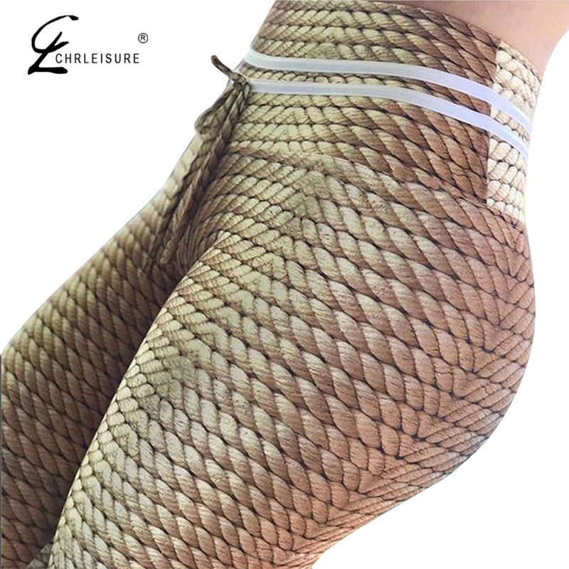 CHRLEISURE Sexy Push Up Women Leggings Fashion High Waist Workout Leggins Simulation Printing Leggings
