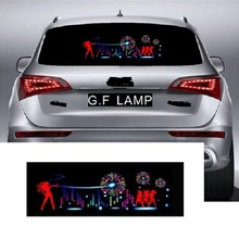 цена на 90*25 cm Car Blue LED Music Rhythm Flash Light Sound Activated Sensor Equalizer Rear Windshield Sticker Styling Neon Lamp Kit
