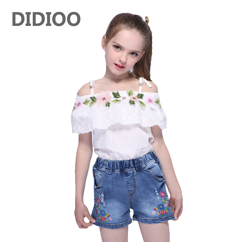 где купить Children Clothing Sets For Girls Outfits Embroidered Floral T-Shirts & Shorts Summer Girls Tees Kids Denim Pants Summer Jeans по лучшей цене