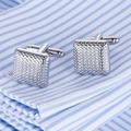Venda quente AAA Qualidade Laser Abotoaduras 18 Homens modelo grade Cufflings prata punhos Franceses Excelentes ligações de Punho Por Atacado