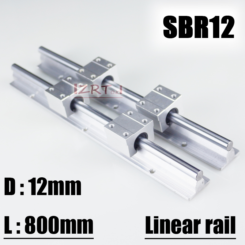 ZRT 12mm linear rail SBR12 800mm supporter rails 2 pcs + 4 pcs SBR12UU  blocks for CNC for 12mm linear shaft support rails -in Linear Guides from  Home ...